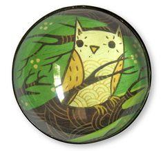 Green Owl Magnet