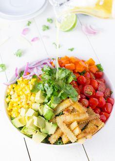 Southwestern Chopped Kale Salad with Crispy Tortilla Strips and a Honey-Lime Vinaigrette