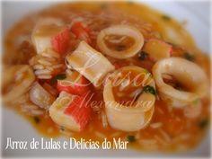 Arroz de Lulas e Delícias do Mar – Luísa Alexandra Shrimp, Meat, Food, Recipes, Ideas, Meals, Yemek, Eten