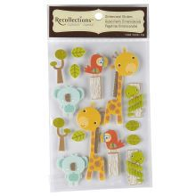 Recollections Signature Dimensional Stickers, Jungle Log Animals