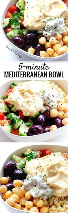 Mediterranean Bowl – Healthy Lunch Meal Prep Mediterranean Bowl – My Favorite Lunch Recipe! Try this healthy lunch recipe, it's also great to meal prep. You prepare everything and keep all parts in separate containers in the fridge (up to Mediterranean Bowls, Easy Mediterranean Diet Recipes, Lunch Meal Prep, Healthy Meal Prep, Healthy Eating, Healthy Protein, Clean Eating Recipes, Vegetarian Recipes, Healthy Recipes