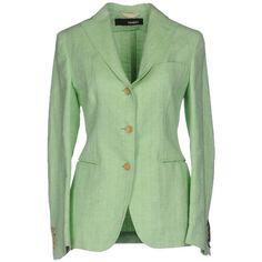 Tonello Blazer ($344) ❤ liked on Polyvore featuring outerwear, jackets, blazers, light green, green blazer jacket, 3 button blazer, single breasted jacket, tweed jacket and tweed blazer