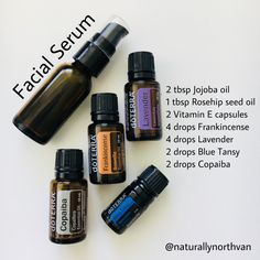 What's in my skincare products? Facial Serum Recipe (updated May DIY Gesichtsserum Essential Oils For Face, Essential Oils For Skin, Essential Oil Diffuser Blends, Esential Oils, Oil For Dry Skin, Doterra Essential Oils, Vitamin E, Facial Serum, Facial Oil