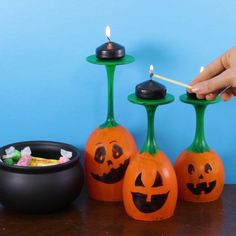 Turn Wine Glasses into Jack O'lantern Candle Holders for $2