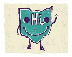 Lil' Ohio Art Print by LilBurritos on Etsy The Buckeye State, Ohio State University, Ohio State Buckeyes, Columbus Ohio, Little Girl Rooms, Say Hi, Growing Up, Art Prints, Sayings