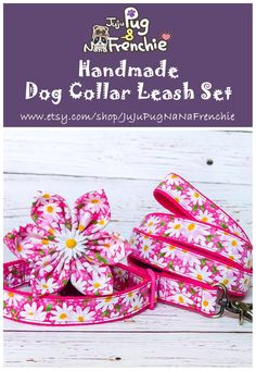 Daisy Flower dog collar leash set/ Pink floral dog collar and leash/ Girl dog collar/ dog collar bow/ small large collar/ collar and lead Daisy Dog, Daisy Girl, Girl Dog Collars, Dog Collars & Leashes, Large Dog Crate, Handmade Dog Collars, Girl And Dog, Collar And Leash, Dog Supplies