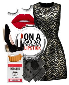 """Good Girls Do Bad Things"" by tynestar ❤ liked on Polyvore featuring Lime Crime, Roberto Cavalli, Black, Moschino and Kate Spade"