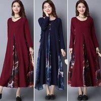 Wish | 2017 New ZANZEA Fashion Retro Women Plus Long Sleeve Cotton Linen Floral Kaftan Maxi Long Dress