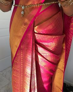 Beauty by Anuja - Draped this gorgeous saree on my bride Sanjika wearing and Indian Bridal Sarees, Wedding Silk Saree, Indian Bridal Outfits, Indian Bridal Fashion, Tamil Wedding, Indian Dresses, Wedding Saree Blouse Designs, Silk Saree Blouse Designs, Kanjivaram Sarees Silk