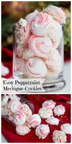 fancy christmas cookies Weihnachtspltzchen Easy Peppermint Meringue Cookies - These make the perfect addition to any holiday table, tray or dish! Since they look fancy amp; taste delicious, everyone will enjoy these sweet treats. Christmas Snacks, Christmas Cooking, Christmas Candy, Holiday Treats, Christmas Parties, Holiday Recipes, Holiday Foods, Easy Christmas Recipes, Christmas Sweet Table