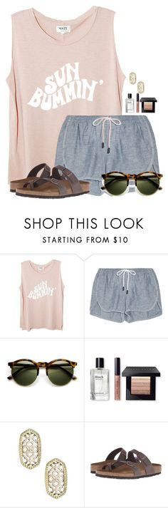 """When is yall's Spring Break?"" by flroasburn ❤ liked on Polyvore featuring rag & bone, Bobbi Brown Cosmetics, Kendra Scott and Birkenstock"