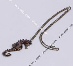 85cm Red Sea Horse Necklace Sweater Chains Jewelry Vintage Charms