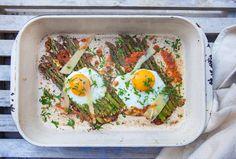 Oven-Baked Asparagus & Eggs @HemsleyHemsley