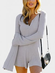 ef8bd229981 Gray Long Sleeve Romper Playsuit - Choies.com