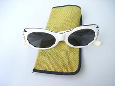 Fabulous 1960s vintage Suntimers by Victory white sunglasses with original soft case.  Find them at www.OverMyHead.Etsy.com