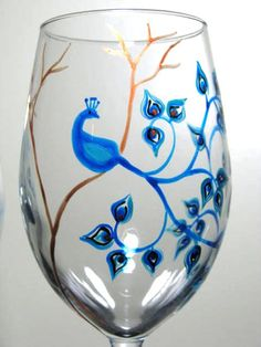 1 Painted Wine Glass Peacock by PrettyMyDrink on Etsy,