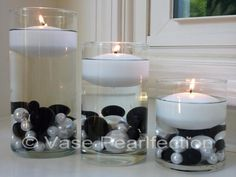 Wedding decorations black and white floating candles 51 Ideas Pearl Centerpiece, Candle Centerpieces, Vases Decor, Wedding Centerpieces, Wedding Decorations, Vase Decorations, Centerpiece Ideas, Candle Craft, Candle Set