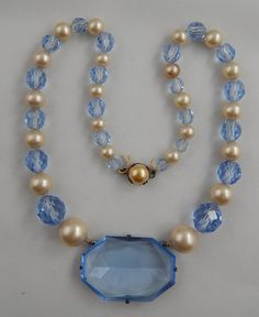Vintage Art Deco Graduated  Faux Pearl Blue Glass Bead Necklace Sterling Clasp