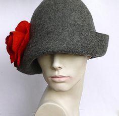 Felted Hat felt hat Cloche Hat Fapper 1920 Hat Art by Feltpoint