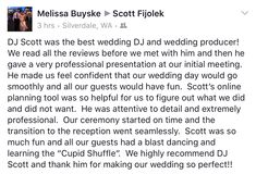 Thank you Melissa & Mike for this very sweet review. I LOVED being the Interactive Wedding DJ/MC at your  wedding, you two are such a complete JOY and a Wonderful couple. You picked an Awesome venue at Port Gamble Weddings / Hood Canal Vista Pavilion. The staff there are THE BEST!! #portgambleweddings . (www.portgambleweddings.com) The officiant Ray Eickhoff delivered a brilliant and very personalized wedding ceremony. Our Videographer Charles Townsend was present at every mo