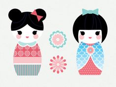 Doll Clipart Kokeshi Doll Cute Doll Japanese by MyGirlyPrints