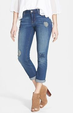 Jessica Simpson 'Forever' Distressed Crop Skinny Jeans (Bluesine/Spain) available at #Nordstrom