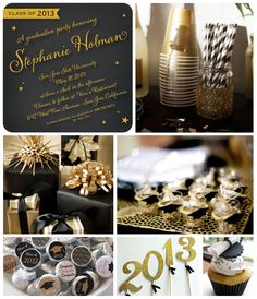 Tiny Prints Black and Gold Graduation Party Inspiration Board: Graduation season is upon us. Celebrate your grad's grand accomplishment with a timeless, glam black and gold theme!