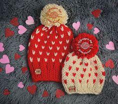 Knit Fair Isle Valentine's Beanies | Mommy & Me Hat | Handmade by Phanessa |  Pattern available on etsy. Ravelry/Craftsy: Designs by Phanessa. . #knittersofinstagram #yarn #makersgonnamake #crochet #knit #knitting #knitter #knitters #knittingaddict #designsbyphanessa #fairisleknitting #hearts #valentines #vkdtbo