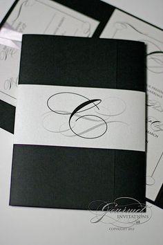 monogram black and white invitations