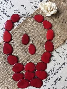 Red statement necklace and earrings set Tagua jewelry Wife