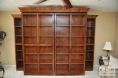 Bookcases hide a Murphy Bed.  Bookcases swing open to reveal bed.  Side Bookcases on each side provide additional storage.