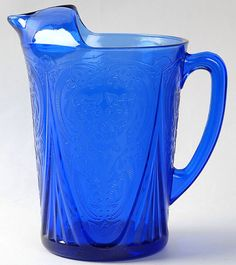 Hazel-Atlas Cobalt Blue Depression Glass Royal Lace 48 oz Pitcher