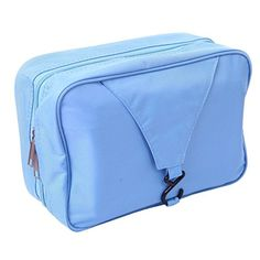 Happy Hours  Foldable Wash Bag Hanging Bathroom Travel Camping Hiking Toiletry With Hook MensLadies Makeup Cosmetics Grooming Organizer Mesh Pocket Storage Waterproof  Blue -- Be sure to check out this awesome product.