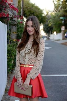 Red girly skater skirt