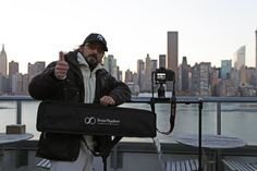 Andrea Lodovichetti (Director) with his SmartSLIDER Reflex 560 and his Canon 5D Mark 3 at work in New York City. this DSLR slider grants great portability and smoothness in movement.