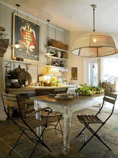 Wonderful French-style Kitchen Decoration: Rustic French Inspired Kitchens Oak Kitchen Table Classic Pendant Lamp ~ sabpa.com Kitchen Designs Inspiration