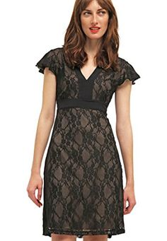 Black Lace Evening Dress Women Short with Sleeves for Wedding Party  Anna Field ** Check this out by going to the link at the image.