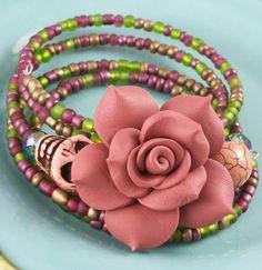 Rose and Skull Bracelet  Sugar Skull Bracelet by VivaGailBeads