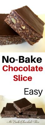 A delicious No Bake Chocolate Slice, this makes the perfect base recipe to add all sorts of delicious things to! So easy and quick. Chocolate Slice, Mint Chocolate Chips, Chocolate Cakes, Chocolate Recipes, Best Dessert Recipes, Easy Desserts, No Bake Slices, Lolly Cake, Baking Recipes