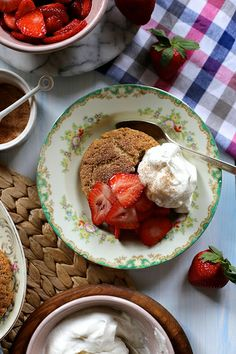 Snickerdoodle Strawberry Shortcake -- Big cinnamon-sugar  cake-cookies topped with juicy strawberries and sweet cream!