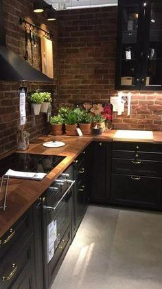 Best Kitchen Cabinets, Kitchen Cabinet Design, Interior Design Kitchen, Farmhouse Kitchen Decor, Home Decor Kitchen, New Kitchen, Kitchen Black, Kitchen Ideas, Kitchen Wood