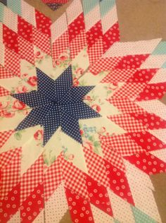 Red and navy star quilt block
