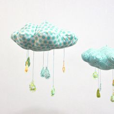 Polka Dot Rain Cloud Mobile - Fabric Nursery Decor - in turquoise blue, yellow, teal, apple green, and white on Etsy, $48.00
