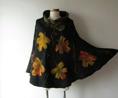 Felted poncho -maple leaves