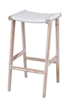 Polo bar stool leather  and white wash timber