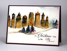 Skyline; PB, Vintage photo, Black soot distress inks (Ranger), watercolor, H. telford, winter