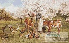 Feeding Time in the Orchard cross stitch pattern.