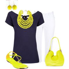 Blue and Yellow Outfit by hread on Polyvore
