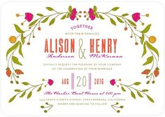 Botanical Bliss - Signature White Wedding Invitations - Whitney Port - Blaze - Orange : Front