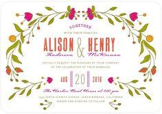 Botanical Bliss - Signature White Wedding Invitations - Whitney Port - Blaze - Orange : Front